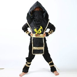 Robe De Fantaisie Pas Cher-Halloween Enfants Ninja Costumes Halloween Party Garçons Filles Guerrier Furtif samouraï Cosplay Assassin costume fête déguisements