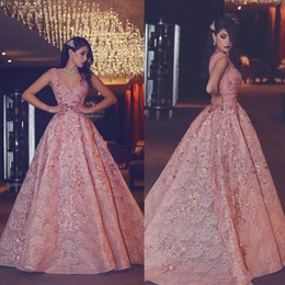 Red Coral Roses Canada - 2017 Luxury Rose Gold lace Arabic Evening Gowns Long A Line vestidos de fiesta V-neck Formal Prom Party Dresses Red Carpet Celebrity Dress