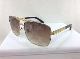 Discount purple gold alloy - Men Square Attitude Gold Sunglasses Pilote Brown Len Outdoor Deisgn Sunglasses Unisex Brand New with box