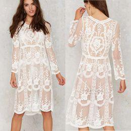4e0b6299f73b3 White Women Beach Dress Sexy Strap Sheer Floral Lace Embroidered Crochet Summer  Dresses Hippie Boho Dress Vestidos Beach Wear