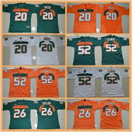 ed reed miami jersey 2019 - Youth Ed Reed #20 Sean Taylor #26 Ray Lewis #52 Green Orange White ncaa Miami Hurricanes College football jerseys kids b