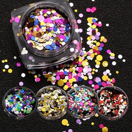 Barato Decalques Metálicos Para Unhas-12pcs / set 1mm2mm3mm Mixed Colorful Nail Glitter Sequins Decals Round Shiny Metal Color Nail Sparkle Flakes 3D Nail Art Decorações