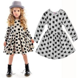 Wholesale 2017 Comfortable Baby Girls Dot Cotton Dress Cute Black Cat Pattern Printing Spring Long Sleeve Baby Clothes Daughter Skirt