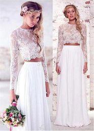graceful modern wedding dresses 2019 - Graceful Lace & Chiffon Jewel Neckline See-through A-line Two Piece Wedding Dress Long Sleeves White Bridal Dress Floor