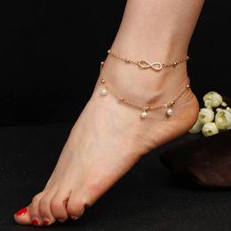 eca8c322ac16 Moda popular perlas tobilleras accesorios de cadena de pie Pulsera doble  moldeada hecha a mano carácter
