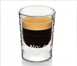 Venta al por mayor de Al por mayor-6pcs / lot Caneca soplado a mano de doble pared proteína de suero de leche Nespresso taza de café taza de café expreso vidrio térmico 85 ml