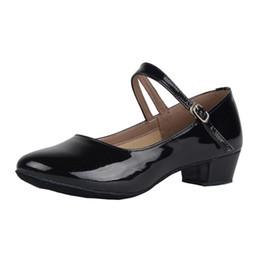 Ballroom Latin Tango Shoes Australia - Girls PU Leather Latin Ballroom Dance Shoes Closed-toe Y-strap Soft Tango Chacha Dance Shoes Kids Low Heeled Suede Sole Practice Shoes