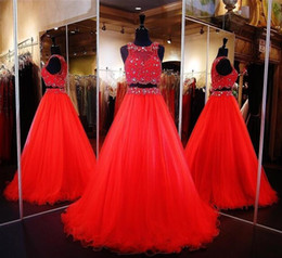 $enCountryForm.capitalKeyWord Canada - Two Pieces Prom Dresses Jewel Sleeves 100% Real Image And Buyer Show Evening Dresses Beaded Tiered Red Custom Made Formal Party Gowns 2017