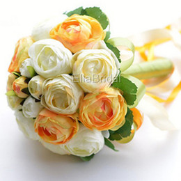 $enCountryForm.capitalKeyWord NZ - Cream Ivory Hot Sell Orange Tea Rose Bridal Bouquet Handflower Bridal Throw Flower Bridesmaid Bouquet Decoration Wedding Flower with Ribbon