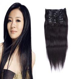 Clip Human Hair Extensions Remy 24 NZ - Brazilian Virgin Hair clip in human hair extensions natural black clips ins 100g 7pcs Lot Straight full head Clip in Remy Hair Extensions