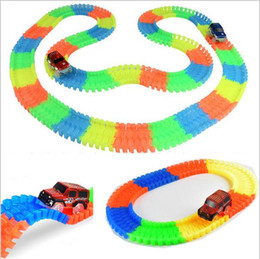 new tracks bend flex glow in the dark assembly toy 165pcs lot race track 1pc led car diy glowing racing set kids toy