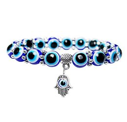 Wholesale Fashion Simple Evil Eye Hamsa Hand Religious Charm Blue Beads Lucky Bracelet Best Match Turkish Bracelet For Women