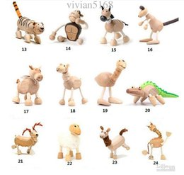 Zoo Toys Canada - Maple Wood Handmade Moveable Animals Toy Farm Animal Wooden Zoo Baby Educational Toys