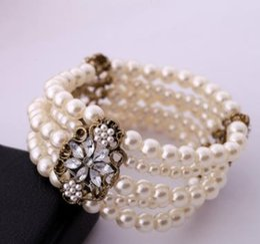 $enCountryForm.capitalKeyWord NZ - Wedding Accessories Jewelry Multilayer Pearl Stretch Bracelet Jewelry Bridal European America Fashion Female Plastic Bracelet White