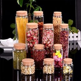 Glasses Storage Canada - Large Glass Storage Bottles with Corks Candy Saffron Food Jars Transparent Clear Empty Health and Eco-Friendly Bottles 4pcs lot