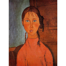 abstract art painting lady Canada - Hand Painted Portrait art lady Girl with Pigtails Amedeo Modigliani abstract paintings home decor