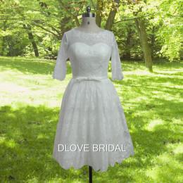 Short White See Through Skirt NZ - 1950's Vintage Short Lace Wedding Dress with Half Sleeve Real Photo Corset Vestios De Novia See Through Knee Length Garden Bridal Gown