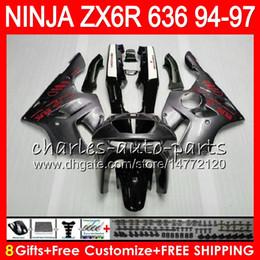 Fairings For kawasaki ninja 1994 online shopping - 8Gifts Colors For KAWASAKI NINJA ZX6R CC ZX R silver grey NO60 ZX636 ZX ZX R ZX600 Fairing kit