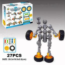 Age Blocks Canada - Stick Building Block Sets 27pcs Car Robot Assembly & Disentanglement Block Puzzle Toy Ages 3+ Preschool Educational Kids Toys