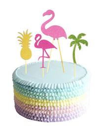 Barato Toques De Bolas De Árvore-Flamingo Abacaxi Copo de árvore de coco Toppers BBQ Hawaiian Tropical Summer Party Food Cocktail Wedding Cupcake Toppers Sticks Decoration