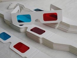 Barato Papel Óculos 3d Azul Ciano-Universal Newest Paper Frame 3D Glasses Red Blue / Cyan Colors Movie Virtual Reality Glasses