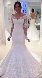 Barato Vestido De Renda Longo Branco Longo-White Lace Beaded Mermaid Wedding Dresses Long Sleeve Applique Off Shoulder Backless Wedding Gwons Sweep Train Illusion Bridal Gowns