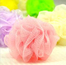 $enCountryForm.capitalKeyWord Canada - colorful bath ball pull ath Shower Soap Bubble Soft Body Wash Exfoliate Puff Sponge Mesh Net Ball Loofah Flower Bath Ball