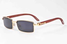 57ffd8a1e2 gafas de sol de madera de lujo sin montura totalmente sin montura mujeres  gafas de cuerno de búfalo hombres mujeres gafas de sol lente transparente  de mejor ...