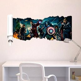 Wholesale 3D Effect Cartoon Wall Sticker Decor Art Mural Super Hero Character for Boys Room