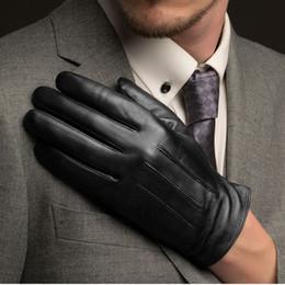 Men Gloves Leather Sheepskin Australia - Wholesale- Fashion Men Touch Screen Sheepskin Gloves Wrist Solid Black Real Genuine Leather Driving Glove Plus Thin Velvet Free Shipping