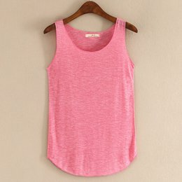 Single Pour Dames Pas Cher-Mode 2016 Summer New Tank Tops Femmes manches ronde Neck Loose T Shirt Ladies Vest Singlets