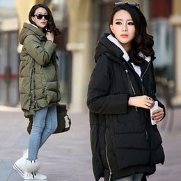 Manteau Rembourré Pas Cher-Vente en gros- Femmes / Lady Winter Down Coat Veste matelassée à capuche Long Thick Zip Pocket Oversized M-XXXL