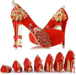 China Red Tassel Wedding Shoes Chinese Style Handmade High Heeled Bridal Shoes Satin Cheongsam Dress Shoes Women Party Pumps Tassel suppliers