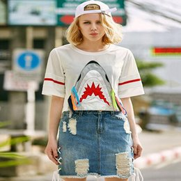 shark shirt xl NZ - Popular White Shark T-shirt Women's Sexy High waist T-shirt Fashion Short Sleeve Shirts Fashion Brand Clothing Size S-XL Free Shipping