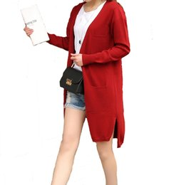 Cachemire Blend Cardigans Pas Cher-Grossiste- Femmes Printemps V-cou chaud Cardigan Femmes Sweater Cashmere Blend Knitted Coat Ladies CasualFashion Cardigans Livraison gratuite WA96