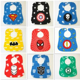 Vêtements Imperméables Pour Nouveau-né Pas Cher-Grossiste- Superhero Cartoon Baby Bibs Newborn Kid Saliva Bavettes Babadores Waterproof Bibs Burp Vêtements Infants bandanas écharpe cravat pinafore