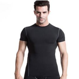 Engranaje T Shirts Baratos-2017 Gyms Hombre Ropa Fitness Compression Base Capas bajo Tops T-shirt Thermal Tees Top Alta Flexibilidad Skins Gear Wear Sports Vest