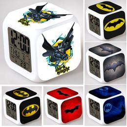 LED 7 Color Change Batman Alarm Clocks Cartoon Print Changing Clock Night Light Creative Digital Kids Gifts