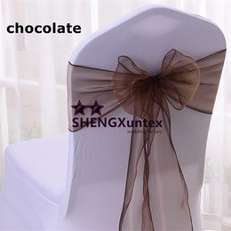Used chair covers for weddings online shopping - Chocolate Color Organza Chair Sash Used For Spandex Chair Cover Wedding Chair Sash