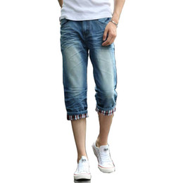 Barato Venda Jeans Shorts Denim-Atacado-2017 Verão Moda Nova Mens Mens Jean Shorts Regular-fit Mixed Denim Moda Casual Hip Hop Calças
