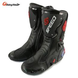 Ingrosso Stivali da moto moda RIDING TRIBE Moto Racing Stivali Protezioni Gear Scarpe lunghe in pelle da motocross B1001 spedizione gratuita
