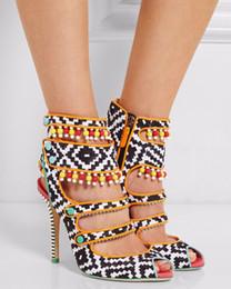Negro   Blanco Amma Sandalias de tela estampada Sandalias Peep Toe Color  blocked Tacones altos de charol Botines Mujer Botas Zapatos Mujer 2d95323a554f