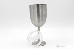 double clamp Canada - 10oz goblet 10oz WINE GLASS Stainless Steel wine Cup Tumbler 300ml Vacuum insulation double wall vacuum insulation