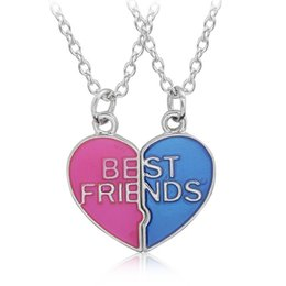 $enCountryForm.capitalKeyWord Canada - Wholesale- Hot Sale Heart Shaped Pendant Necklace Couple Broken Heart Best Friends Necklaces Trendy Colorful Friendship Jewelry For Girls