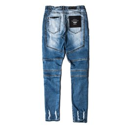 Barato Desgaste Para Homens-Atacado Men's Raw Hem Jeans Distressed and Worn-out Design 2017 Autumn New High Street Style Drop Shipping