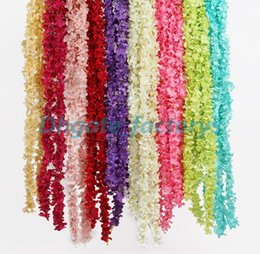 Flower For decoration wholesale online shopping - Artificial Hydrangea Wisteria Flower colors DIY Simulation Wedding Arch Door Home Wall Hanging Garland For Wedding Garden Decoration