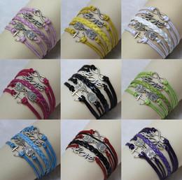 Discount anchor hand bracelet - Hot sale Retro ornaments owl anchor LOVE8 word hand-woven bracelet FB149 mix order 20 pieces a lot Charm Bracelets