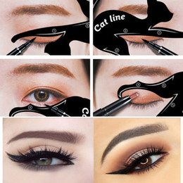 Chinese  Hot Popular Easy Eye Shadow Eyeliner Make Up Tools Cat Eyeliner Stencil Kit Makeup Card Template manufacturers