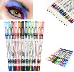 Barato Conjunto De Lábios-12 cores Glitter Lip Liner Eye Shadow Eyeliner Pen Pencil Maquiagem Cosmetic Set Eye Eyeline Makeup Pencil Set KKA2092