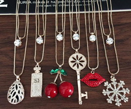 charm pendants cheap 2019 - 19 Colors Mixed Jewelry Sets Cheap Statement Choker Pendant Crystal Pendant Necklaces Jewelry Alloy Material Chains Jewe